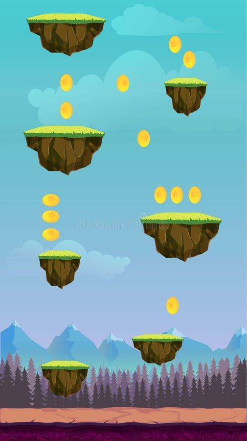 跳跃比赛滑稽的春天图表比赛ui背景的片剂例证的用户界面设计,在动画片样式 皇族释放例证