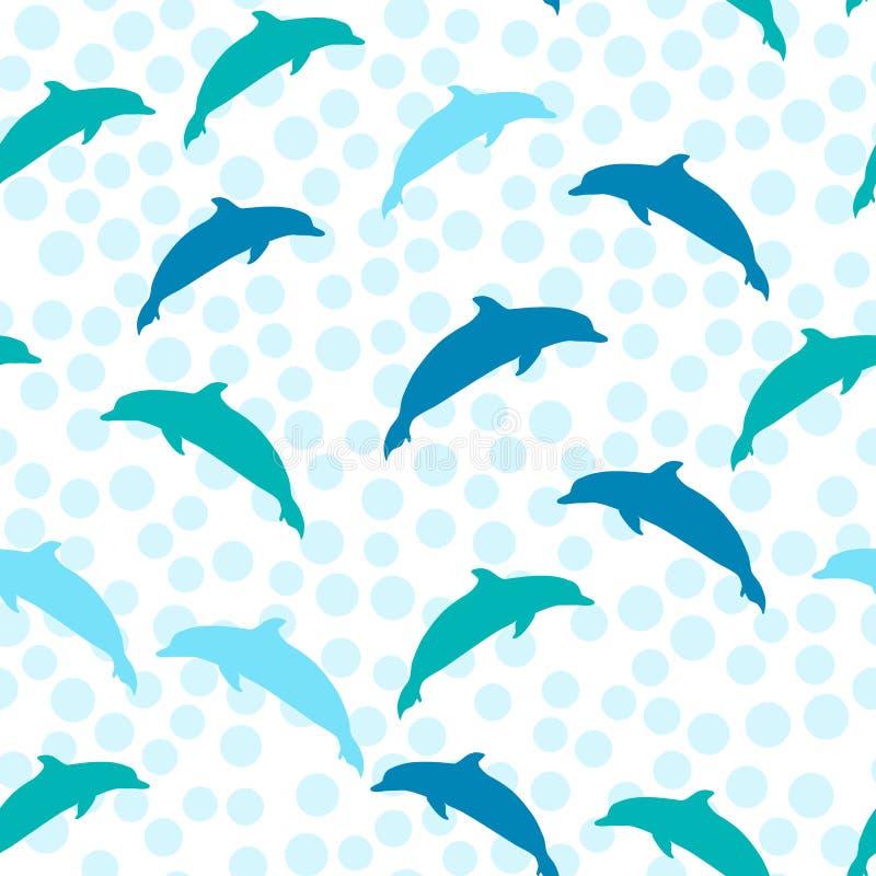 跳跃海豚,导航与海洋动物的无缝的夏天样式 印刷品的海洋样式 向量例证
