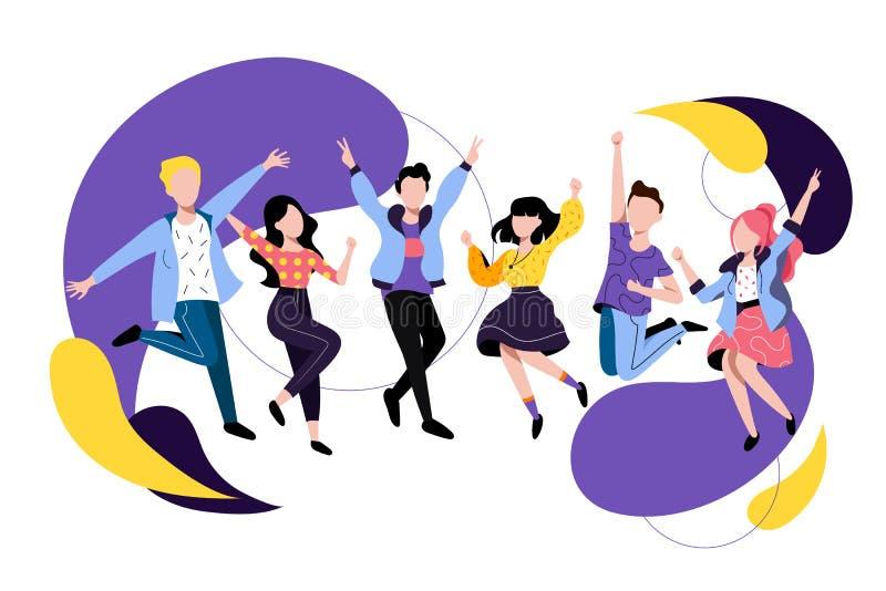 跳跃的和跳舞的愉快的人民 o 朋友有一个党 年轻人和妇女卡通人物 向量例证