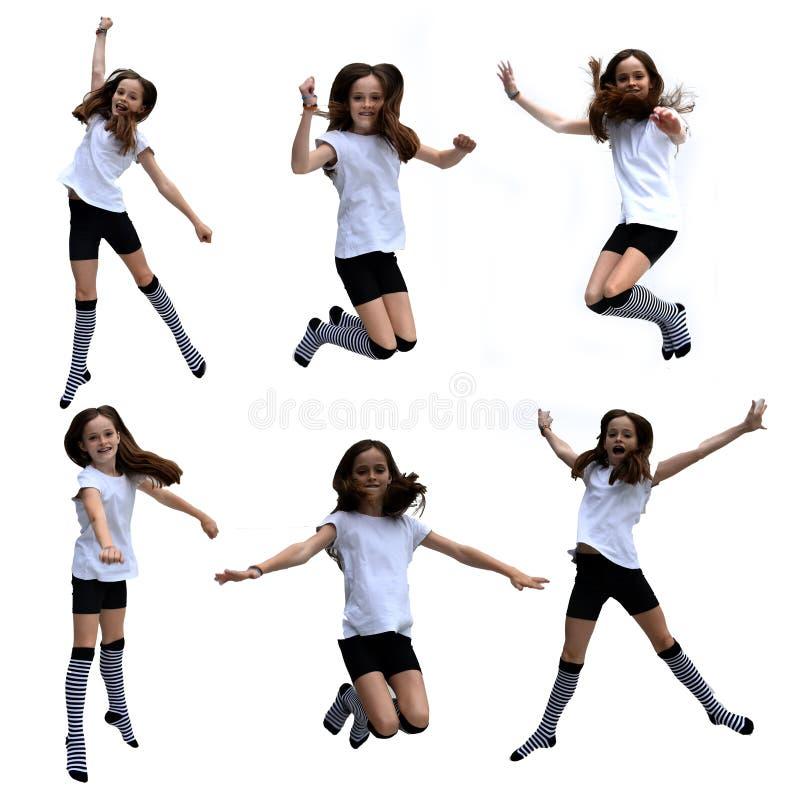 跳跃的女孩拼贴画 库存照片