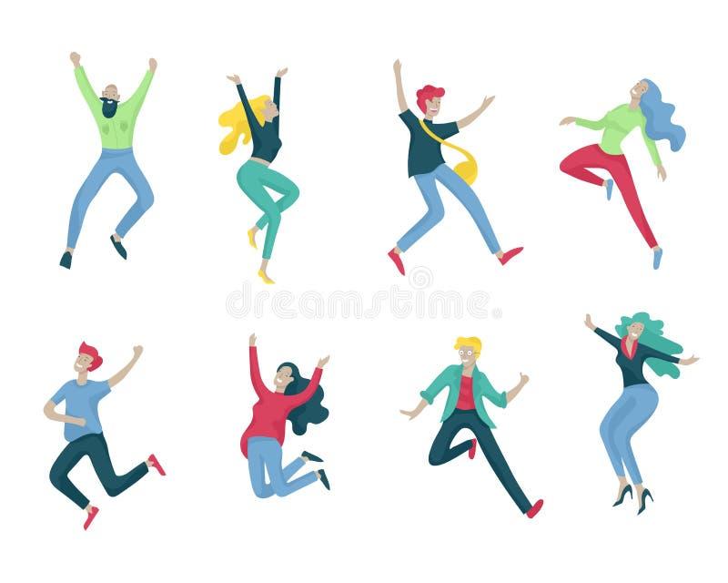跳跃的字符以各种各样的姿势 一起高兴愉快的正面的年轻人或的妇女,幸福,自由 向量例证