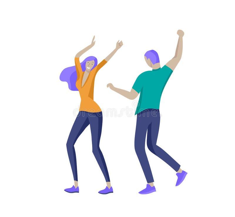 跳跃的字符以各种各样的姿势 跳跃用被举的手的小组年轻快乐的笑的人民 愉快的正面 皇族释放例证