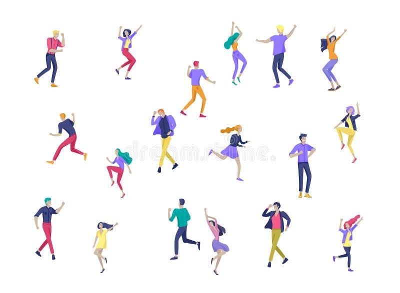 跳跃的字符以各种各样的姿势 跳跃用被举的手的小组年轻快乐的笑的人民 愉快的正面 向量例证