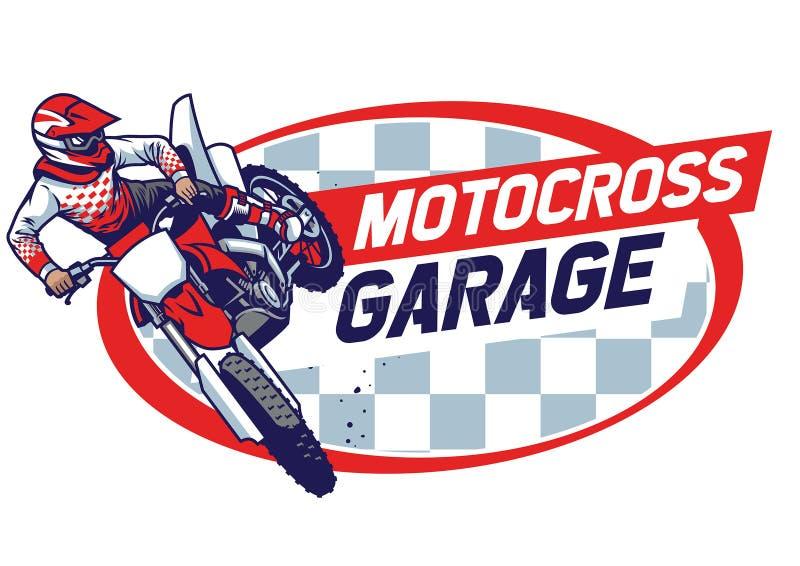 跳跃的摩托车越野赛徽章设计 皇族释放例证