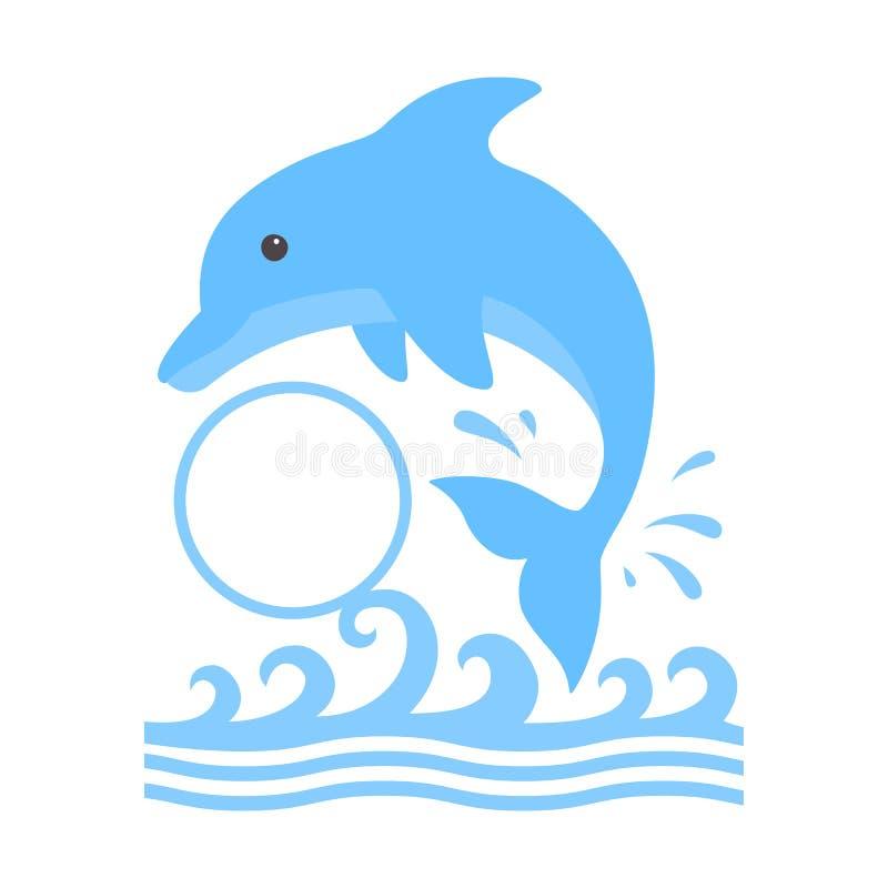 跳跃的海豚和水飞溅  与一个圈子组合图案的逗人喜爱的蓝色海豚在动画片样式 游泳的传染媒介例证 向量例证