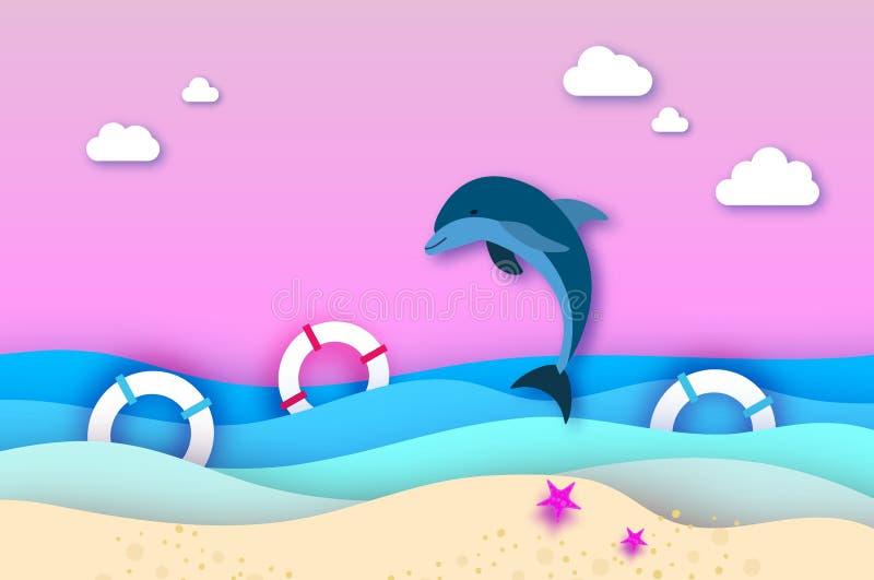 跳跃的海豚和lifebuoy在纸裁减样式的海 Origami分层了堆积美好的海景和天空 夏威夷太平洋 皇族释放例证