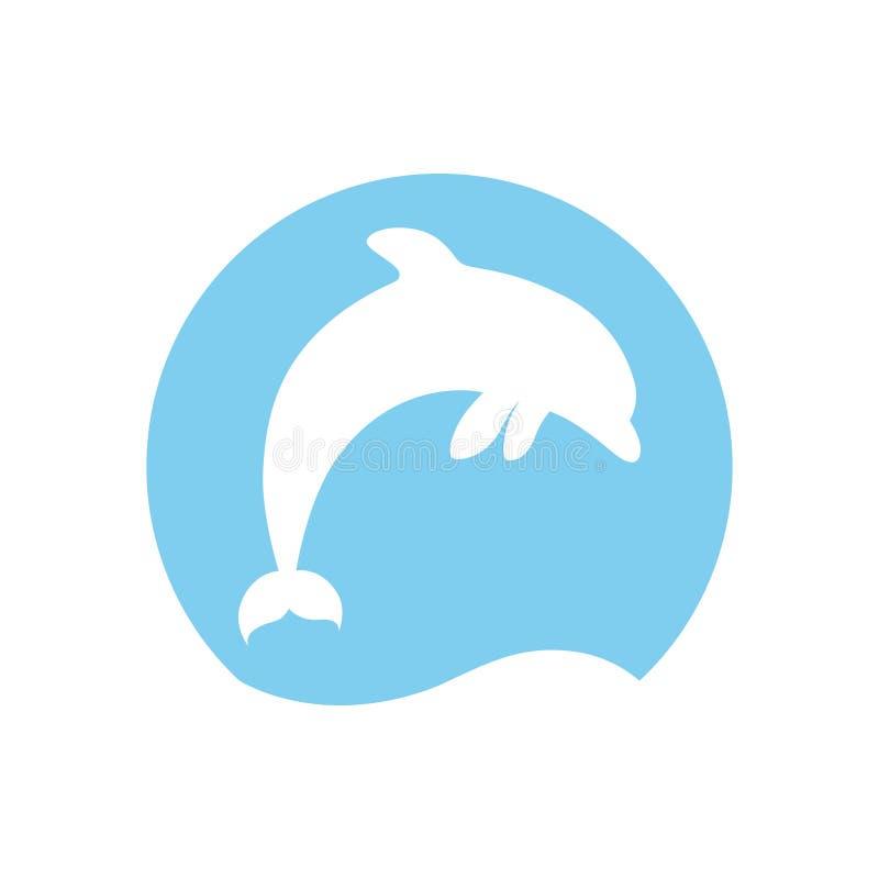 跳跃的海豚商标 向量例证