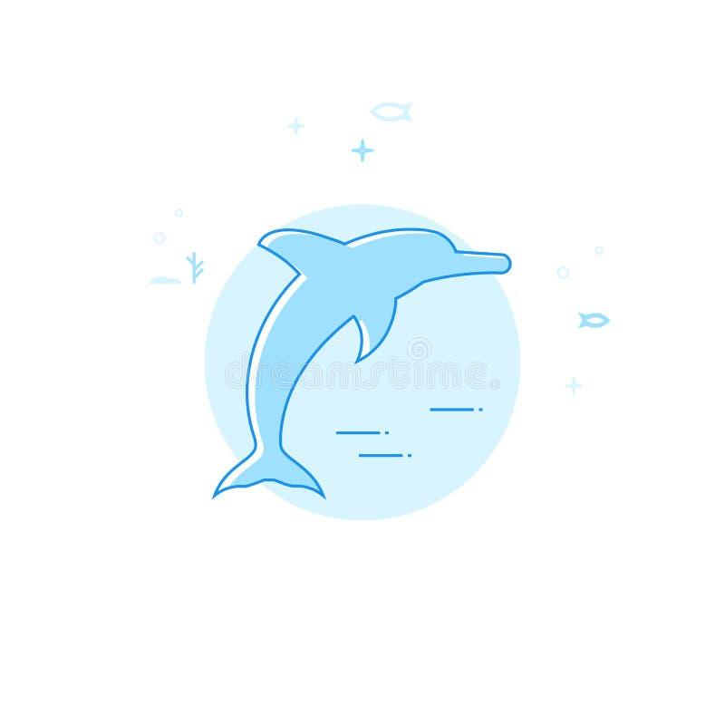 跳跃的海豚平的传染媒介例证,象 浅兰的单色设计 编辑可能的冲程 库存例证