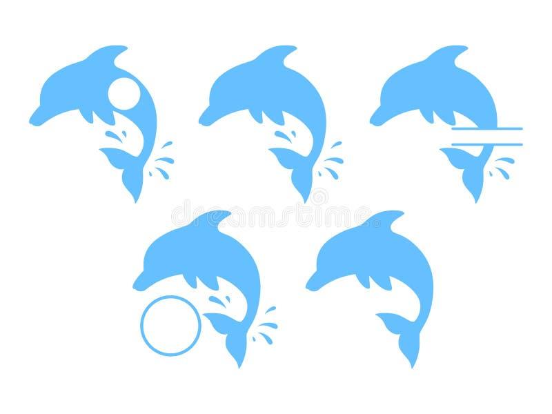 跳跃的海豚-蓝色剪影 在动画片样式的逗人喜爱的蓝色海豚 导航游泳池小册子或横幅的例证 向量例证
