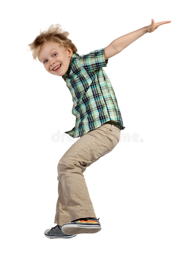 跳跃的男孩 库存照片