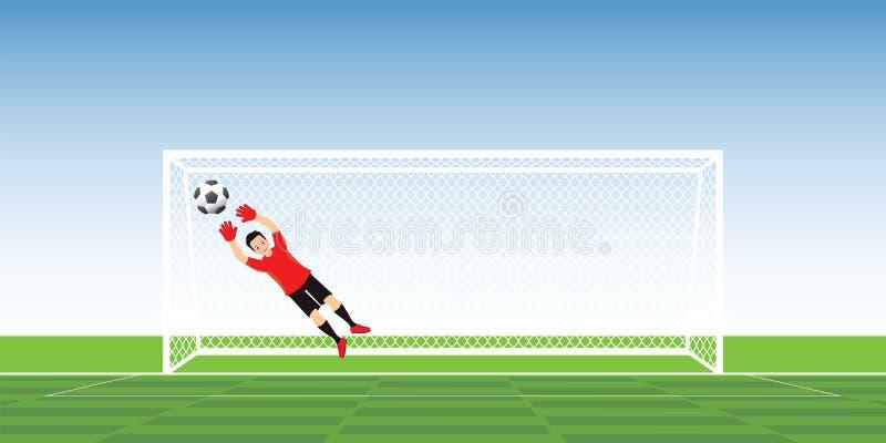 跳跃的行动的守门员拿到足球 库存例证