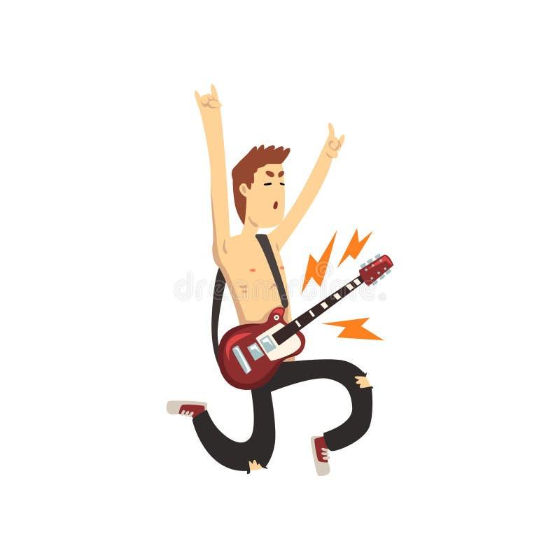 跳跃的行动的滑稽的人与电吉他 年轻音乐家漫画人物  在黑色被剥去的裤子打扮的人 库存例证
