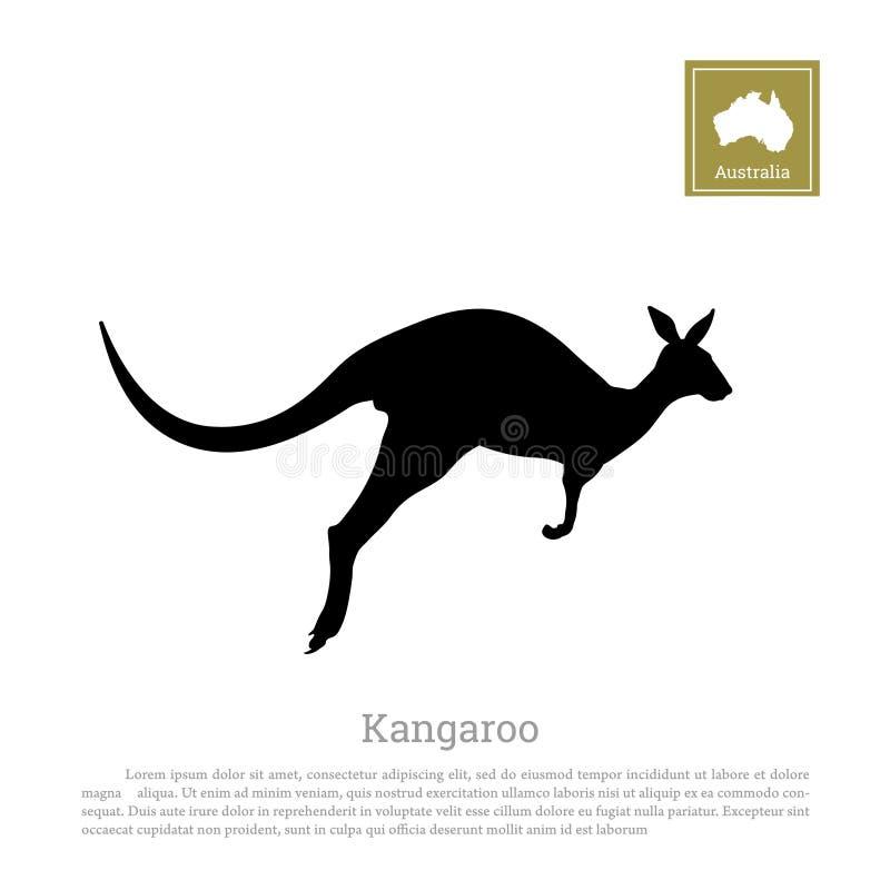 跳跃的袋鼠黑剪影在白色背景的 鼠的被隔绝的图画 库存例证