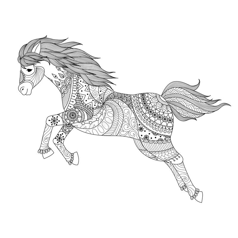 跳跃的马的Zentangle设计彩图的 库存例证