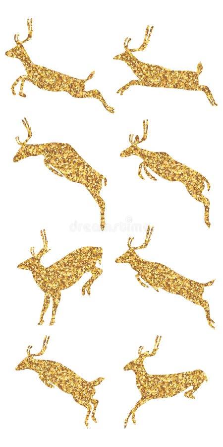 跳跃的鹿金黄闪烁集合 皇族释放例证