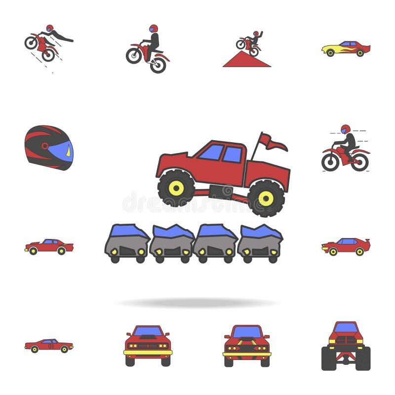 跳跃通过汽车的巨足兽汽车调遣coloricon 详细的套颜色大脚汽车象 优质图形设计 一  库存例证