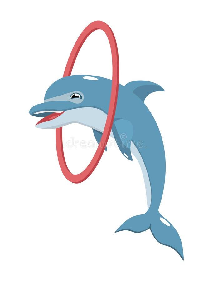 跳跃通过箍的快乐的海豚 库存例证