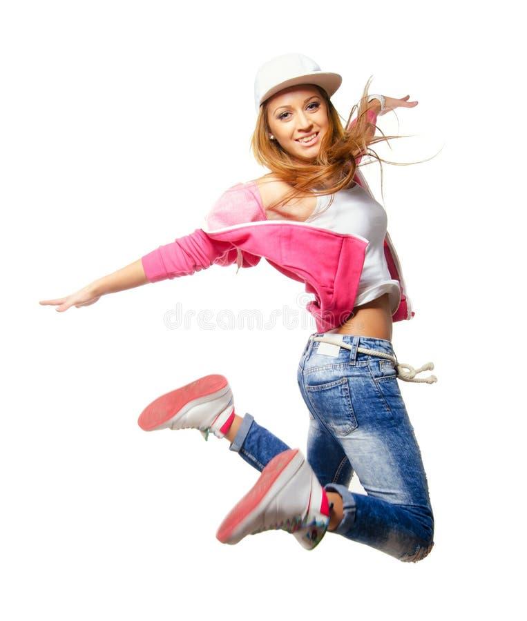 跳跃高在天空中的Hip Hop舞蹈家隔绝在白色backgro 库存图片