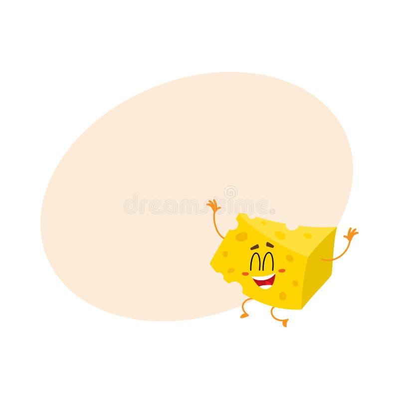 跳跃从幸福的逗人喜爱和滑稽的乳酪大块字符 皇族释放例证