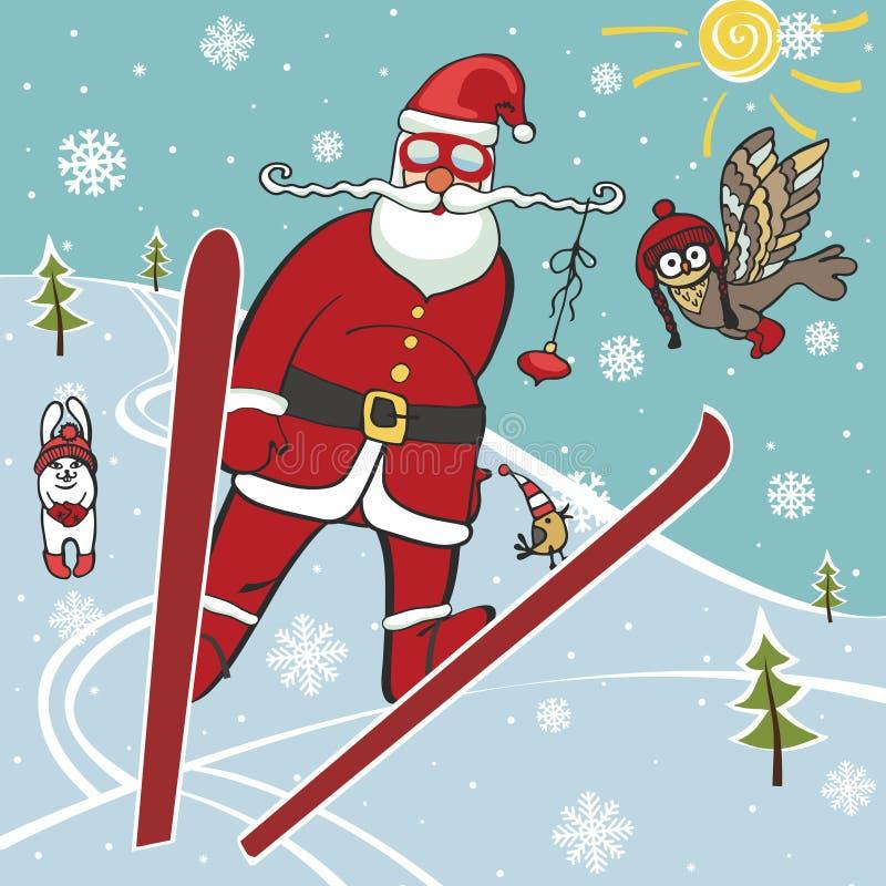 跳跃从跳板的圣诞老人 幽默 库存例证