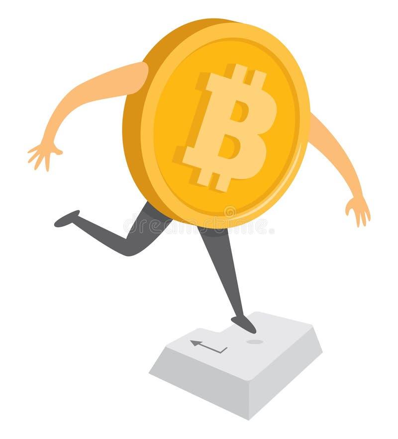 跳跃Bitcoin的货币输入键 向量例证