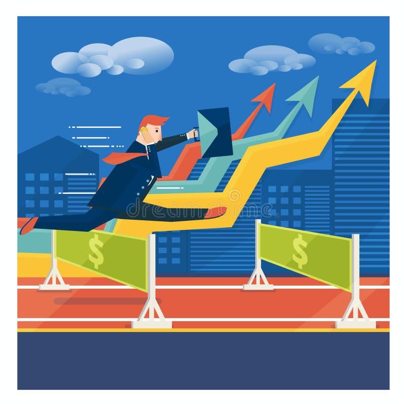 跳过事业障碍的年轻商人或经纪 Succe 向量例证