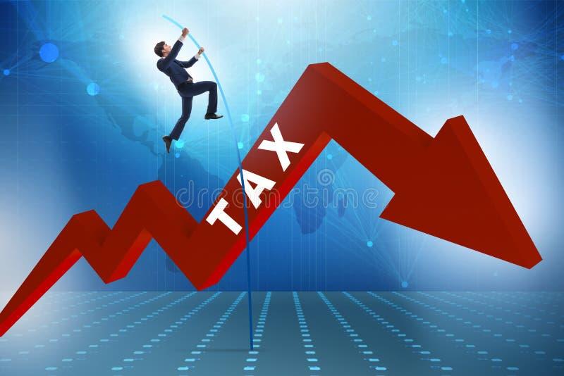 跳过在逃税退避概念的税的商人 向量例证
