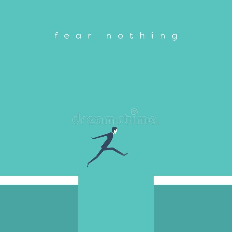 跳过峡谷传染媒介概念的商人 企业成功,挑战,风险,勇气的标志 向量例证