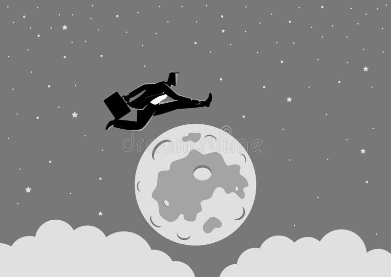 跳过月亮的商人 向量例证