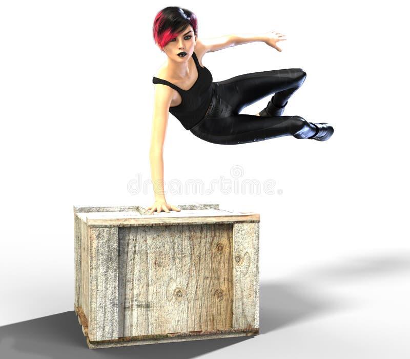 跳过箱子的性感的年轻行动妇女 免版税图库摄影