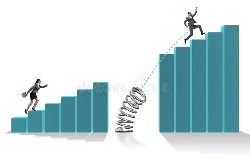 跳过长条图的商人 向量例证
