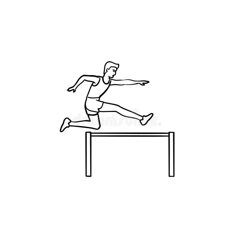 跳过障碍手拉的概述乱画象的运动员 向量例证