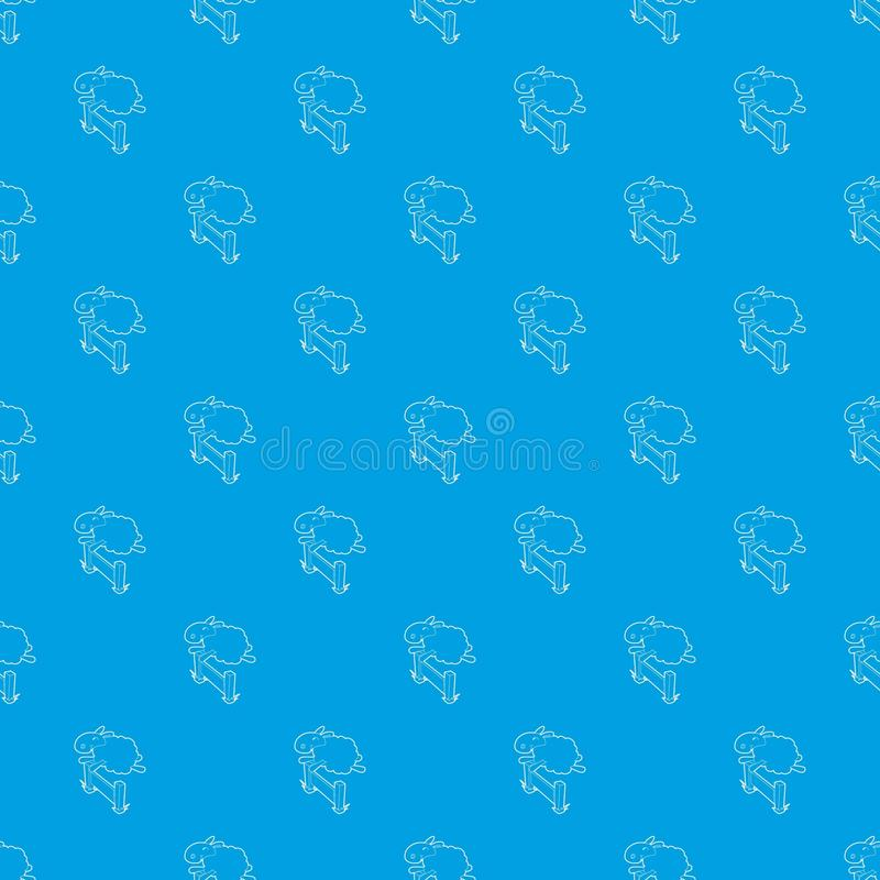 跳过障碍样式的绵羊导航无缝的蓝色 库存例证