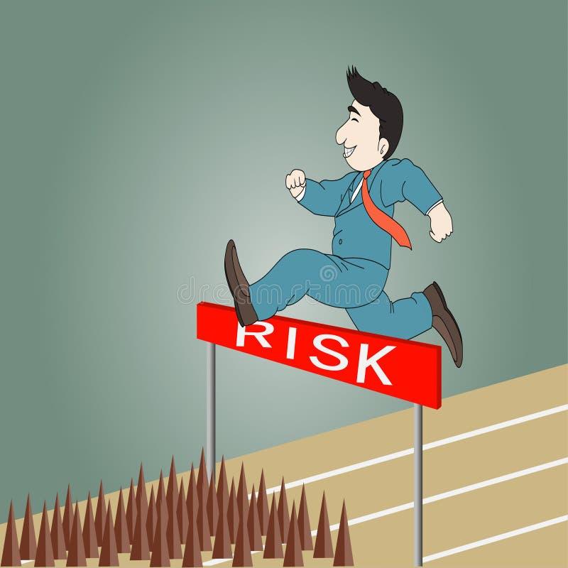 跳过障碍的商人冒险 向量例证