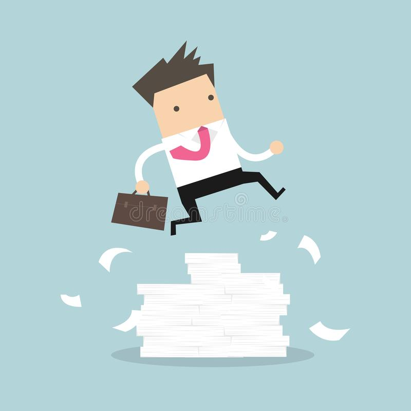 跳过障碍的商人或经理 大堆文件 向量例证
