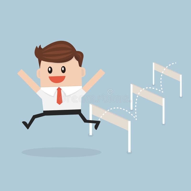 跳过障碍,传染媒介illustion平的设计样式的商人 库存例证
