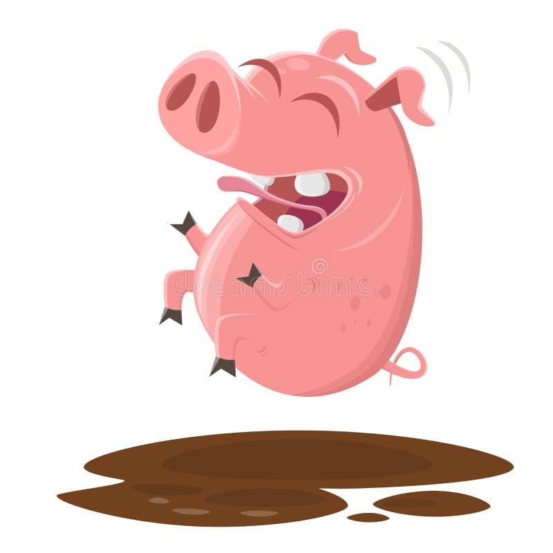 跳进泥水坑的滑稽的猪  库存例证