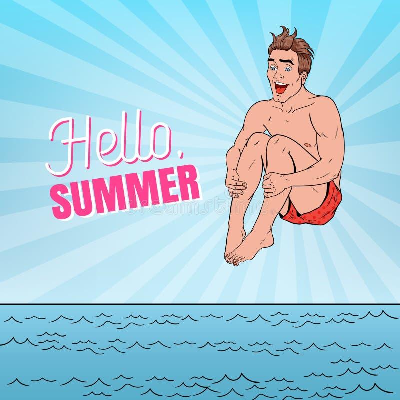 跳进海的流行艺术愉快的人 你好夏天海滩假期概念 向量例证