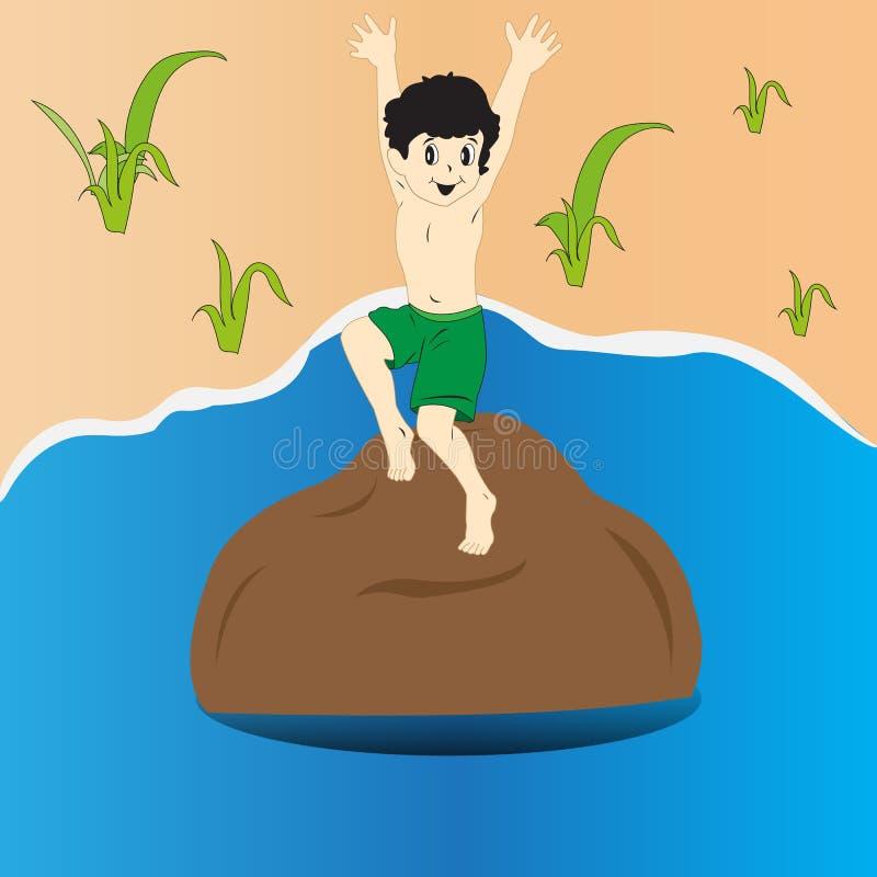 跳进水的孩子 库存照片