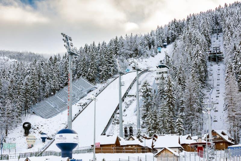 跳高滑雪在Zakopane,波兰 库存图片