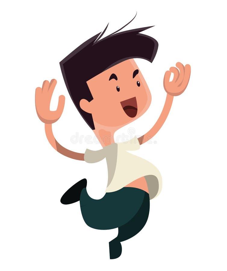 跳从幸福例证漫画人物的人图片