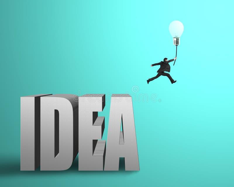 跳从想法具体词的商人捉住发光的潜逃 库存例证