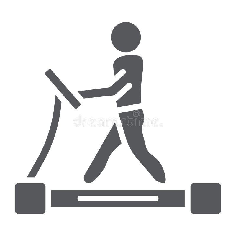 踏车纵的沟纹象、健身和锻炼,赛跑者标志,向量图形,在白色背景的一个坚实样式 库存例证