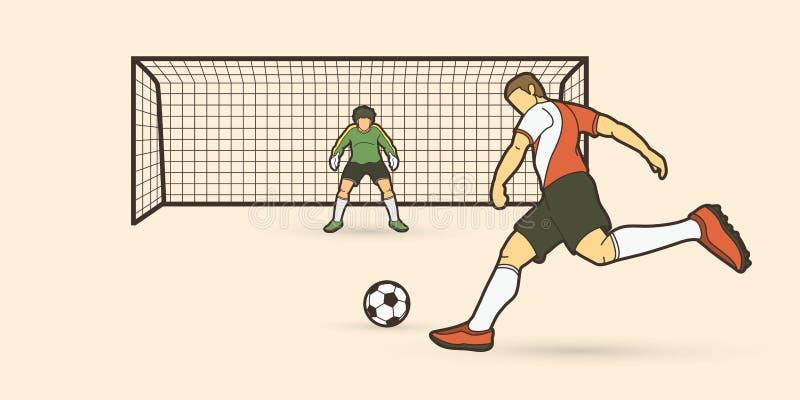 踢与守门员常设行动的足球运动员球 皇族释放例证