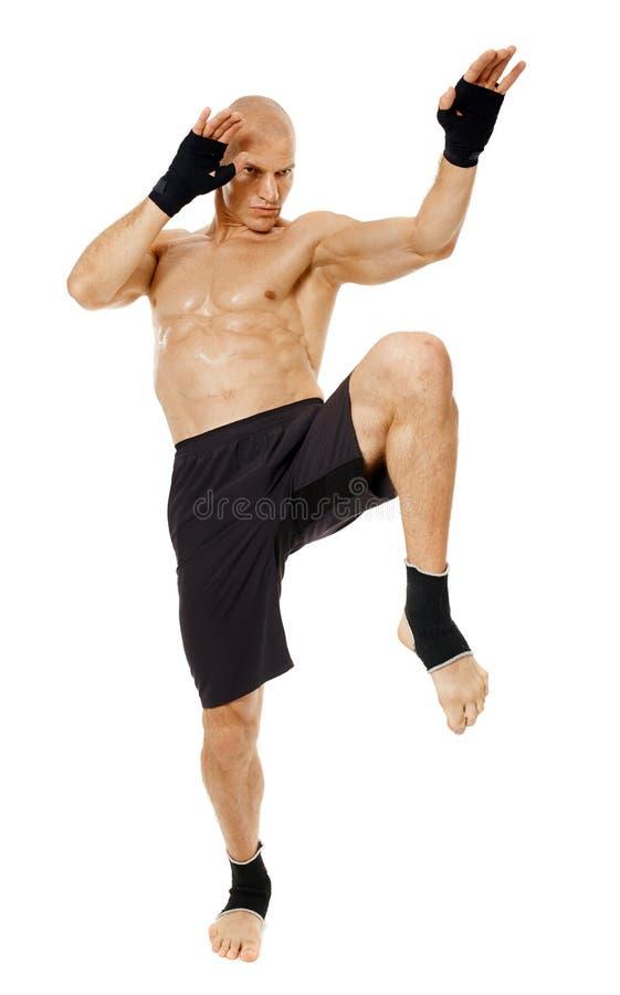 踢与膝盖的泰国箱子战斗机 库存图片