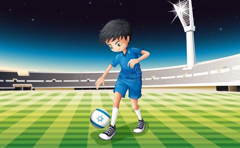 踢与以色列的旗子的足球运动员球 皇族释放例证