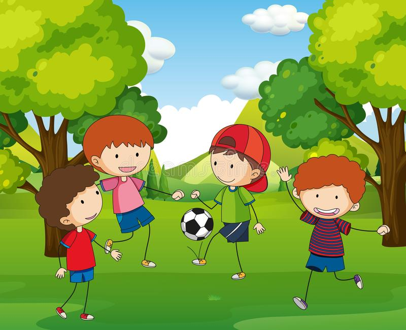 踢橄榄球的男孩在公园 库存例证