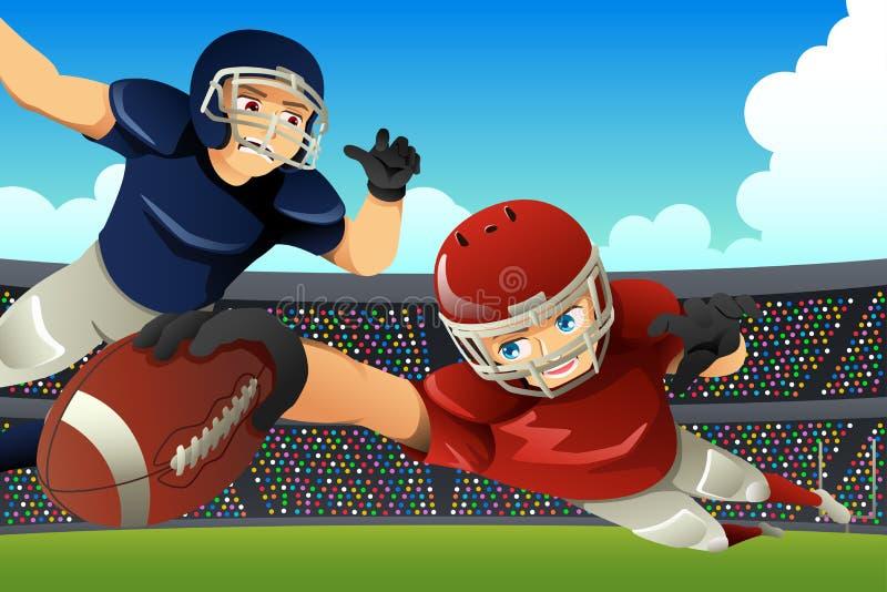 踢橄榄球的美国橄榄球运动员在体育场内 库存例证