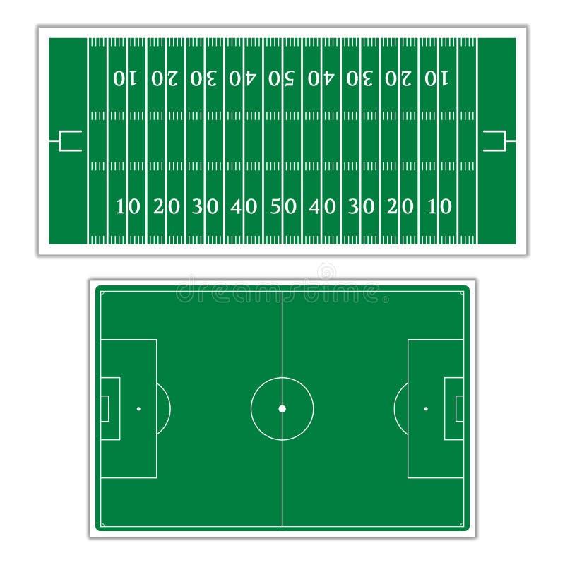 踢橄榄球的领域,例证 向量例证