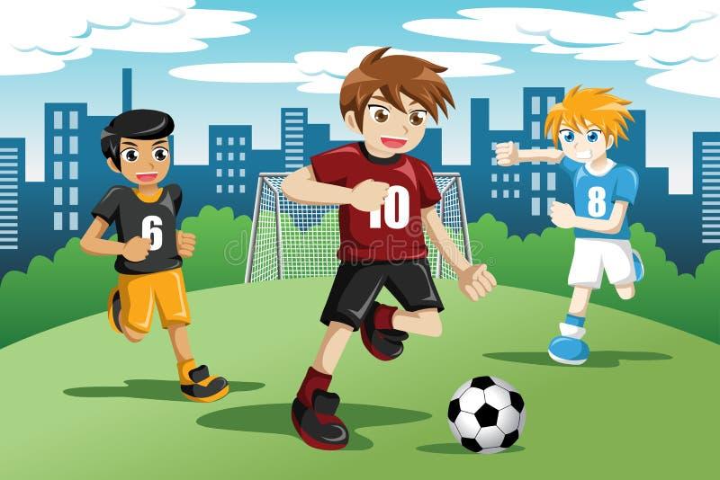 踢足球的孩子 库存例证